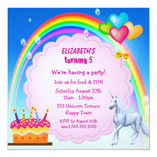 Unicorn, Rainbow & Cake Cute Birthday Party Invite