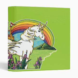 unicorn rainbow castle scene 3 ring binder