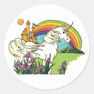 unicorn rainbow castle scene classic round sticker