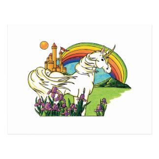 unicorn rainbow castle scene postcard