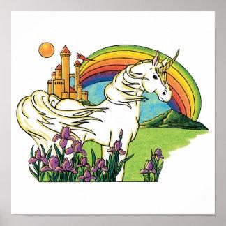 unicorn rainbow castle scene poster