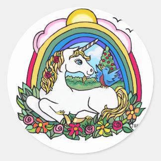 Unicorn & Rainbow Classic Round Sticker