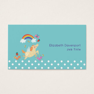 Unicorn Rainbow Clouds and Flowers Business Card