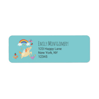 Unicorn Rainbow Clouds and Flowers Label