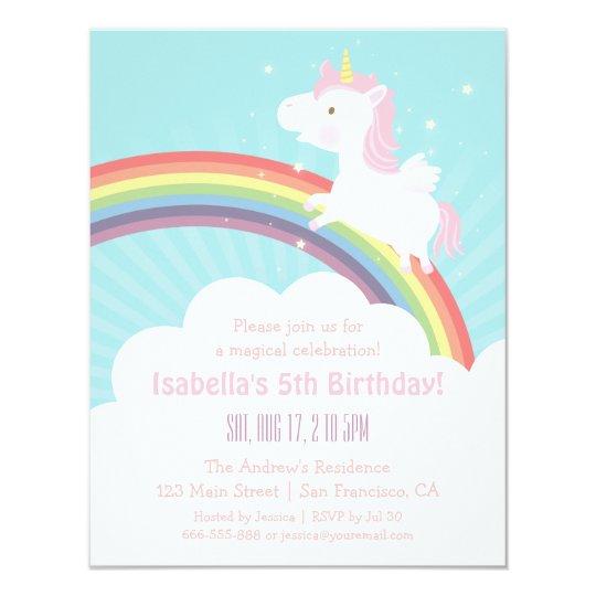 Unicorn Rainbow Girls Birthday Party Invitations Zazzlecom