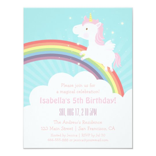 unicorn rainbow girls birthday party invitations - Girl Birthday Party Invitations