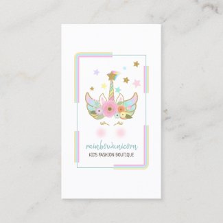 Unicorn rainbow glitter gold Business card
