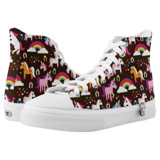 unicorn rainbow kids background horse High-Top sneakers