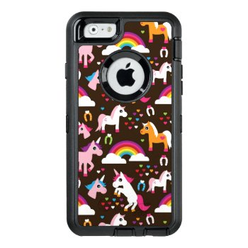 Unicorn Rainbow Kids Background Horse Otterbox Defender Iphone Case by cuteoverload at Zazzle