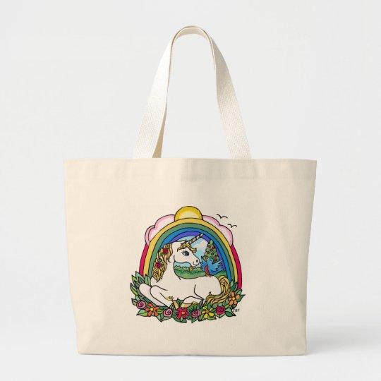 Unicorn & Rainbow Large Tote Bag