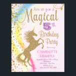 """Unicorn Rainbow Magical Birthday Party Invitations<br><div class=""""desc"""">Unicorn birthday party invitations with pretty gold glitter unicorn on a beautiful pastel rainbow background. You can change the background color to the shade you prefer, and this unicorn invitation is easily customized for your event by simply adding your details. This is a printed design with no real glitter, sparkles,...</div>"""