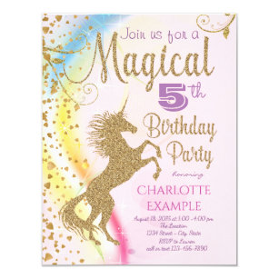 Unicorn Rainbow Magical Birthday Party Invitations