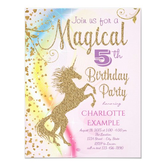 unicorn rainbow magical birthday party invitations zazzle com