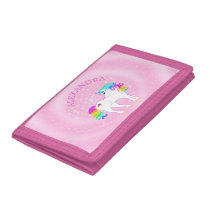 Unicorn Rainbow Magical Pink Cute Customized Trifold Wallet