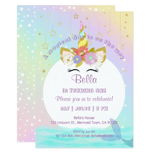 Unicorn Rainbow Mermaid First Birthday Invitations