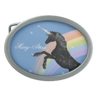 Unicorn Rainbow Oval Belt Buckle