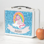 "Unicorn &amp; Rainbow Personalized Metal Lunch Box<br><div class=""desc"">Add some color and cuteness to your lunch with this amazingly adorable design! I have other colors available for the glitter background. If you like a different color, just message me through my facebook page! *NOTE* The glitter is fake. No actual glitter is used to be made in the lunchbox....</div>"