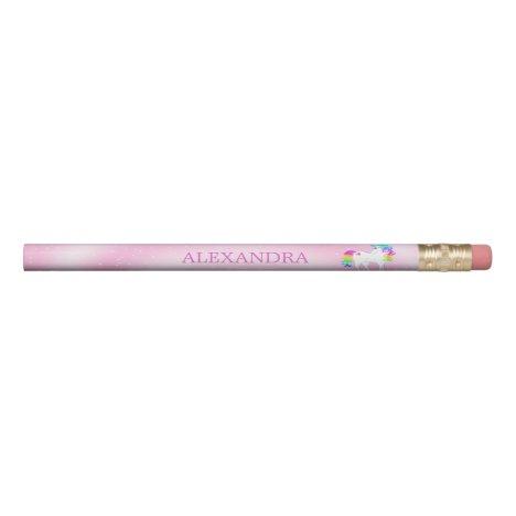 Unicorn Rainbow Pink Cute Customized Pencil