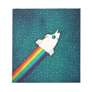 Unicorn Rainbow Rocket Note Pad