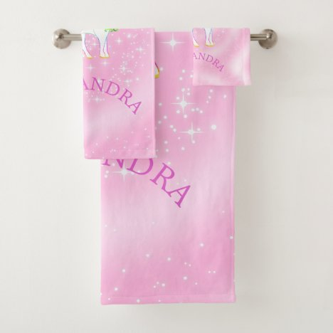Unicorn Rainbow Stars Magical Pink Cute Customized Bath Towel Set