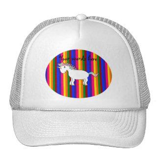 Unicorn rainbow stripes trucker hat