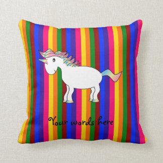 Unicorn rainbow stripes throw pillows