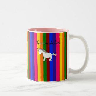 Unicorn rainbow stripes Two-Tone coffee mug