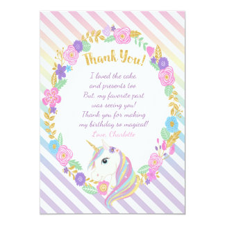 Unicorn Rainbow Thank You Cards