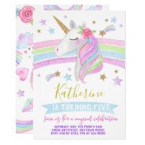 Unicorn rainbows birthday invitation watercolor