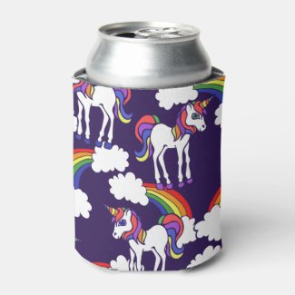 Unicorn Rainbows Can Cooler