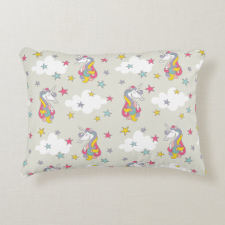 Unicorn Rainbows Clouds and Colorful Stars Bedroom Accent Pillow
