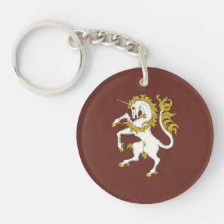 Unicorn Rampant Double-Sided Round Acrylic Keychain