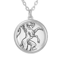 Unicorn Rampant Heraldic Crest Coat of Arms Silver Plated Necklace