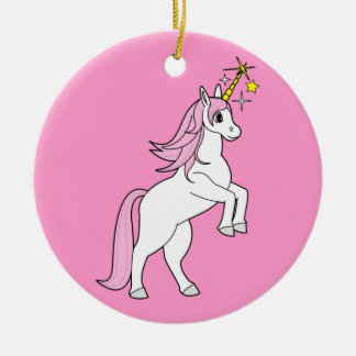 Unicorn Rearing: Pink Mane and Tail Ceramic Ornament