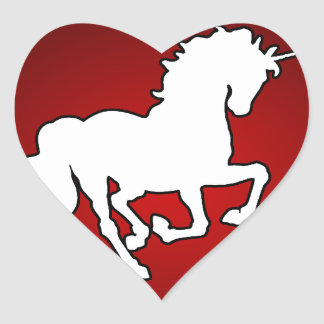 UNICORN RED BACKGROUND PRODUCTS HEART STICKER