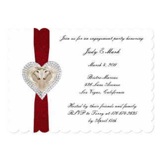 Unicorn Red Lace Engagement Party Invitation