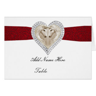 Unicorn Red Lace Table Place Card