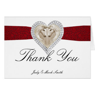 Unicorn Red Lace Thank You Card