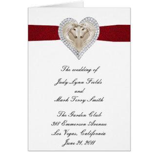 Unicorn Red Lace Wedding Program Card