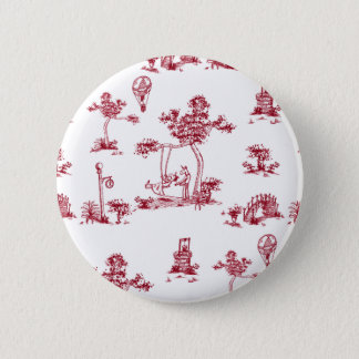 Unicorn Red Toile Button
