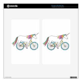 Unicorn Riding Bike Kindle Fire Decals