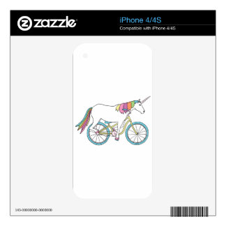 Unicorn Riding Bike Skins For iPhone 4