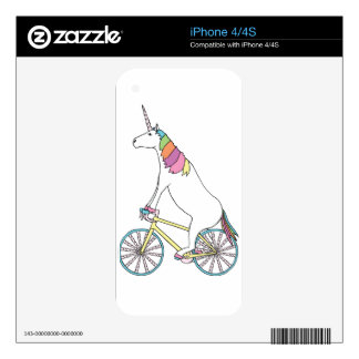 Unicorn Riding Bike W/ Unicorn Horn Spoked Wheels Decal For The iPhone 4
