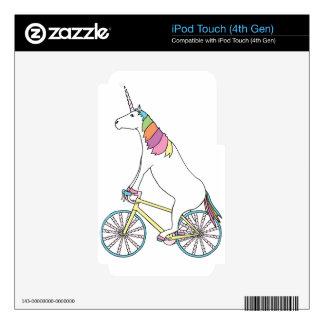 Unicorn Riding Bike W/ Unicorn Horn Spoked Wheels Skin For iPod Touch 4G