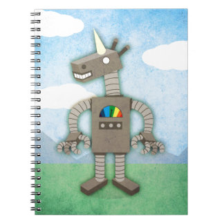 Unicorn Robot Spiral Notebook