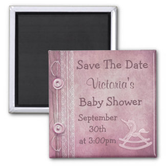 Unicorn Rocking Horse Save the Date Baby Shower 2 Inch Square Magnet