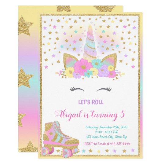 Unicorn Roller Skating Invitation Unicorn Invitation Zazzle Com