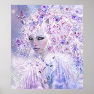 Unicorn Rose Goddess Fine Art Poster/Print Poster