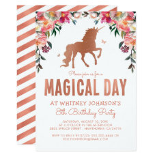 Unicorn Rose Gold Foil Magical Birthday Party Invitation