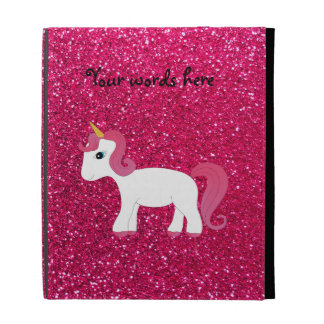 Unicorn rose pink glitter iPad folio covers